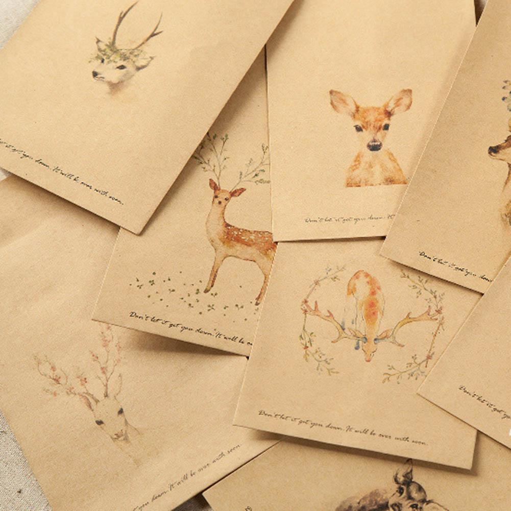 10 Pcs/set DIY Deer Envelope Cute Retro Kraft Paper Envelopes Gift Card Office Stationery Supply