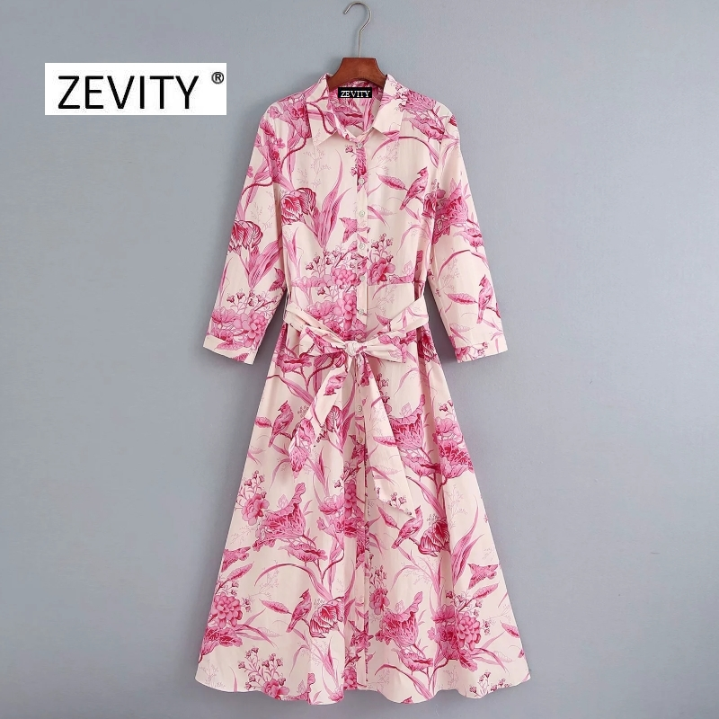 Zevity New women vintage birds flower print shirt dress office lady three quarter sleeve bow sashes vestidos chic dresses DS4152