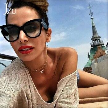 JZU New Designer Sunglasses Women 2019 Luxury Brand Fashion Black Leopard Cat Eye Sunglasses Female Gradient Points Sun Glasses