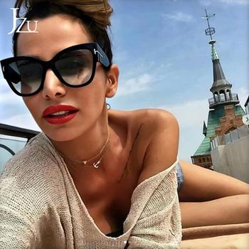 Moda ponadgabarytowe okulary przeciwsłoneczne damskie 2021 nowe markowe okulary przeciwsłoneczne Cat Eye Shades dla kobiet okulary przeciwsłoneczne luksusowe marki Outdoor Travel tanie i dobre opinie CN (pochodzenie) WOMEN Z tworzywa sztucznego KOCIE OKO Dla osób dorosłych Z OCTANU NONE UV400 49mm YJ035 55mm Colors sunglasses