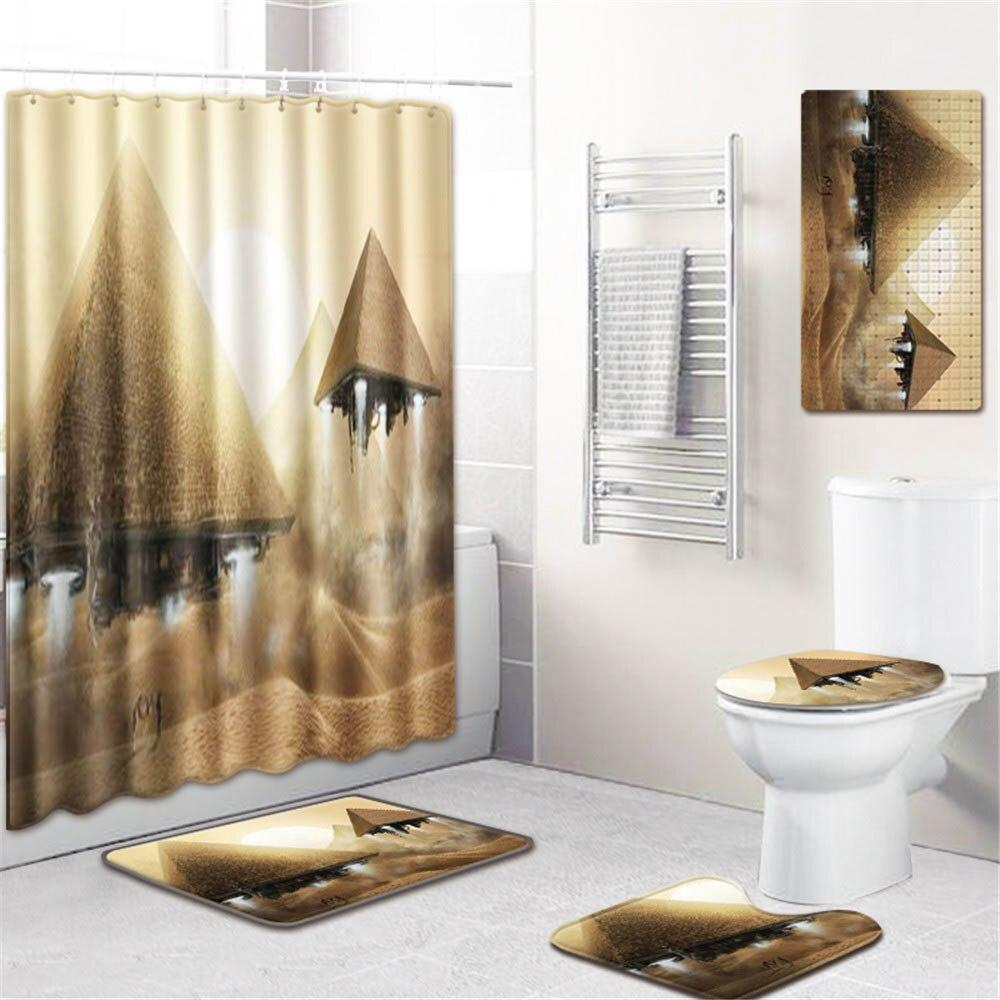 5 шт. 3d печать ванная душевая занавеска водонепроницаемый полиэстер Ткань моющийся ванный занавес экран крючки нескользящий коврик для ван... - 2
