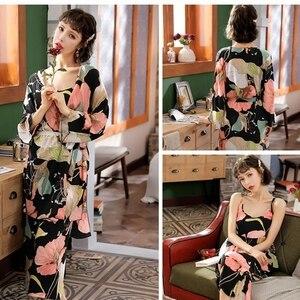 Image 5 - JULYS SONG 3 Piece Spring  Floral Printed Pajamas Set Summer Viscose Sleepwear Women Pajamas Top  Long Pants Night Suit  Set