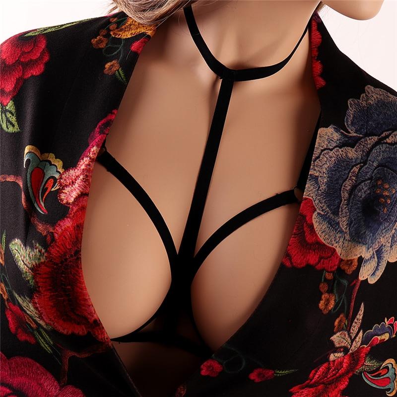 Punk Body Chain Harness Underwear Harness Garter Plus Size Elastic Adjustable Black Overall Dress Women Suspenders