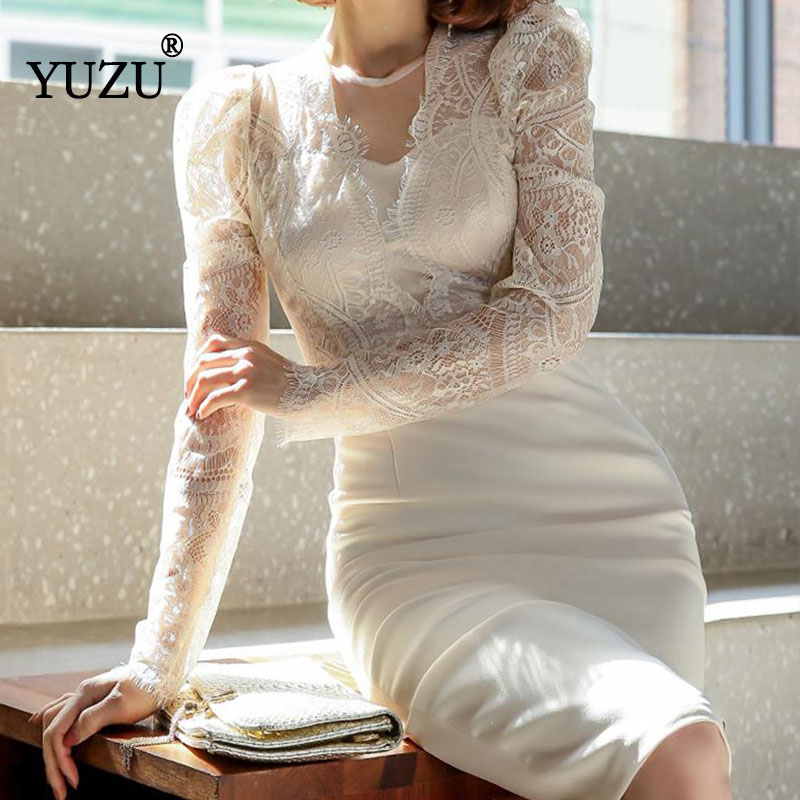 Long Sleeve Dress Women White Lace Patchwork Pencil Bodycon Solid Office Party Korean Dress Knee-length V-neck Fall Dresses