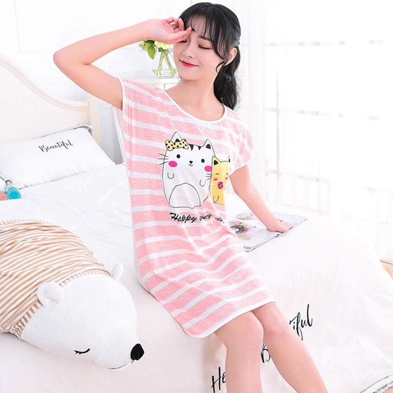 2020 Summer Womens Nightgown Female pajiamas Short Sleeved Cartoon Sleepwear Girls Round-Neck Cute Dress 4