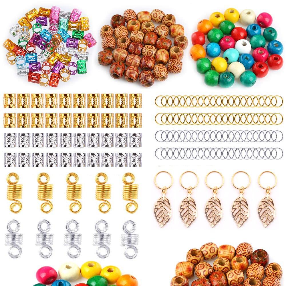 280pcs/bag Dreadlocks Beads Hair Braid Accessories with Natural Painted Wood Beads Braid Rings Hair Hoops Dreadlocks Beads