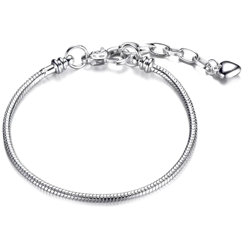 Высокое качество 16-21 см змейка цепь звено браслет подходящая Европейская Подвеска DIY браслет для женщин DIY Мода для украшения подарка