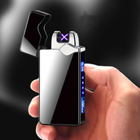 Isqueiro eletrônico touch arco duplo  isqueiro eletrônico recarregável por usb  acendedor elétrico de cigarro  à prova de vento  metal  isqueiros de plasma  presente