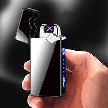 اللمس المزدوج قوس ولاعة إلكترونية شحن USB ولاعة السجائر التدخين ولاعة كهربائية يندبروف المعادن البلازما الولاعات هدية