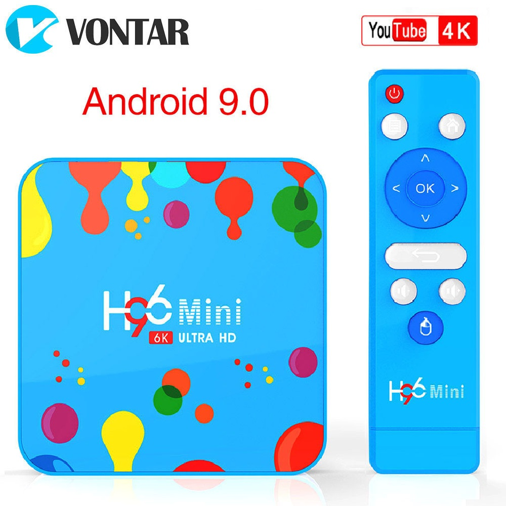VONTAR 4GB 128GB H96 Mini Android 9.0 TV Box Allwinner H6 Quad Core 6K H.265 Wifi netflix Youtube décodeur H96mini 4GB32GB