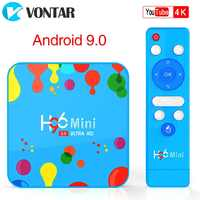 Vontar 4 gb 128 gb h96 mini android 9.0 caixa de tv allwinner h6 quad core 6 k h.265 wifi netflix youtube conjunto caixa superior h96mini 4gb32gb