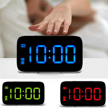 USB LED Digital Alarm Clock Snooze Large LCD Display Battery Powered Voice Control Hourly Chime Multi-Function Color Clocks New