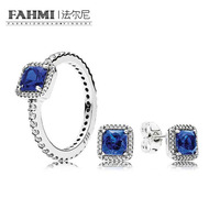 FAHMI YCS 100% 925 Sterling Silver Blue Timeless Elegance Gift Set Charms rings Fit DIY Original Jewellery A Set