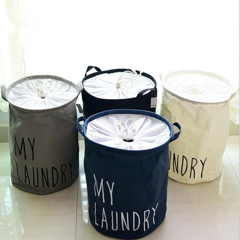 Cotton Linen Foldable Buckets Clothes Organizer Closure Laundry Basket Large Capacity Kids Toy Hamper Storage Bag