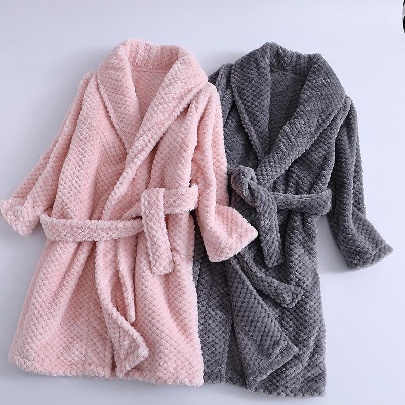 Fashionable 2019 Kids Bath Robes Winter Children's Bathrobe Solid Color Flannel Bathgrowns for Big Boys Girls Soft Belt Pyjamas