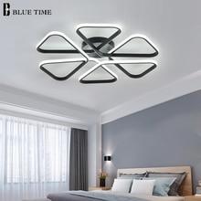 Металлический современный светодиодный потолочный светильник для гостиной спальня столовая светильники лампы черный&белый блеск 110В 220В