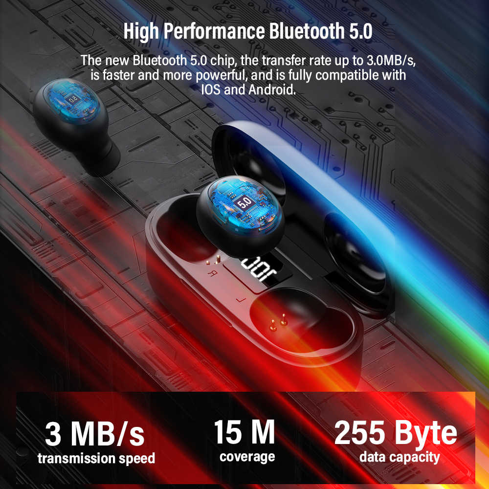 DACOM U7 TWS Bluetooth Earphones 5.0 True Wireless Stereo Earbuds HiFi Mini TWS Earpieces Wireless Earphones for iPhone Samsung