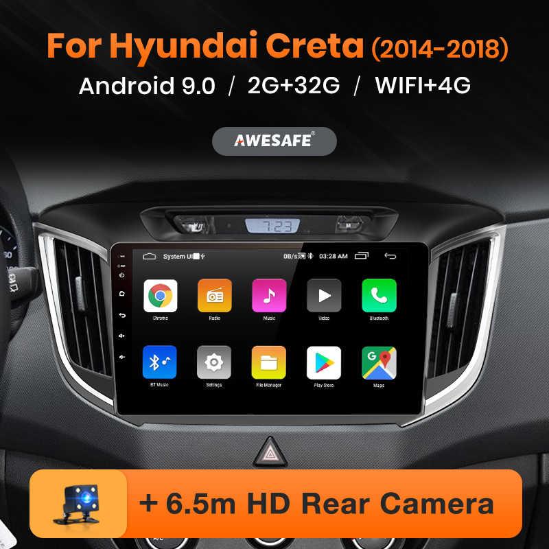 Reprodutor de vídeo multimídia gps nenhum 2din 2 din android 2014 2 gb + 32 gb awesafe px9 para hyundai ix25 creta 2015 2016 2018-9.0 rádio do carro
