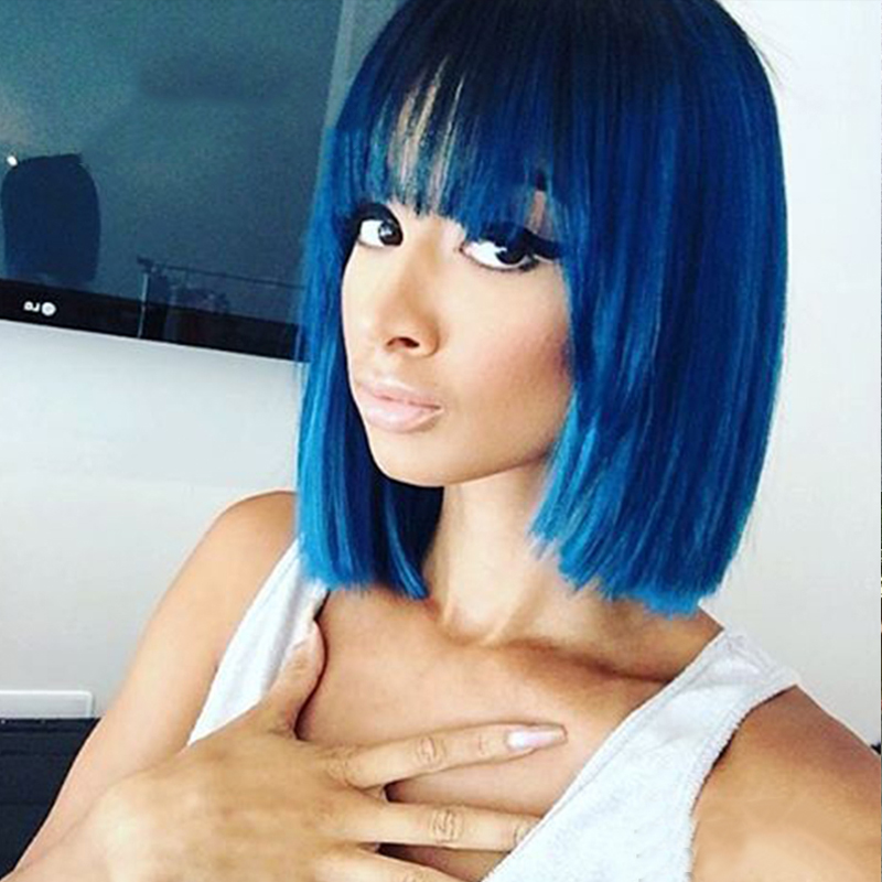 Blue Short Bob Human Hair Wigs Blue Green Brazilian Straight Short Human Hair Wigs With Bang For Women Fringe Human Hair Wigs