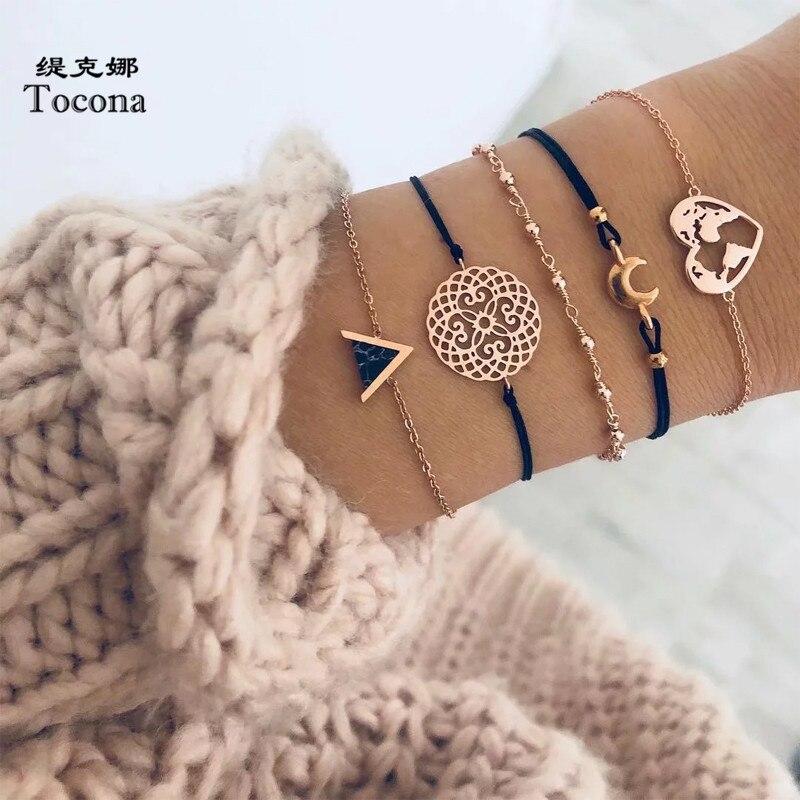 Tocona 5 unids/set bohemio mapa brazaletes de Luna para las mujeres de Color oro de corazón hueco triángulo cadena brazaletes de joyería браслет7123
