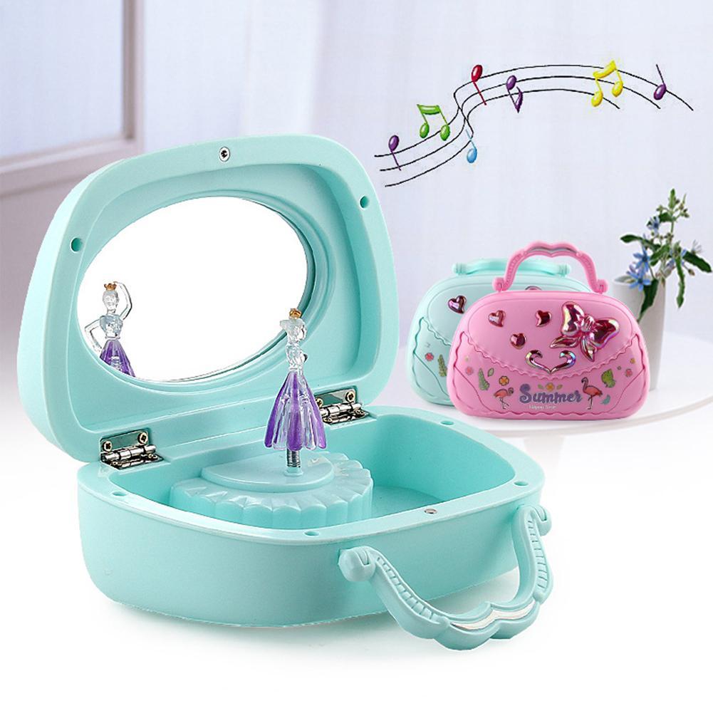 Jewelry Box  Earring Holder Kids Girls Music Box Handbag Shape Rotating Ballet Girl Mirror Music Box Musical Toy Children Gifts