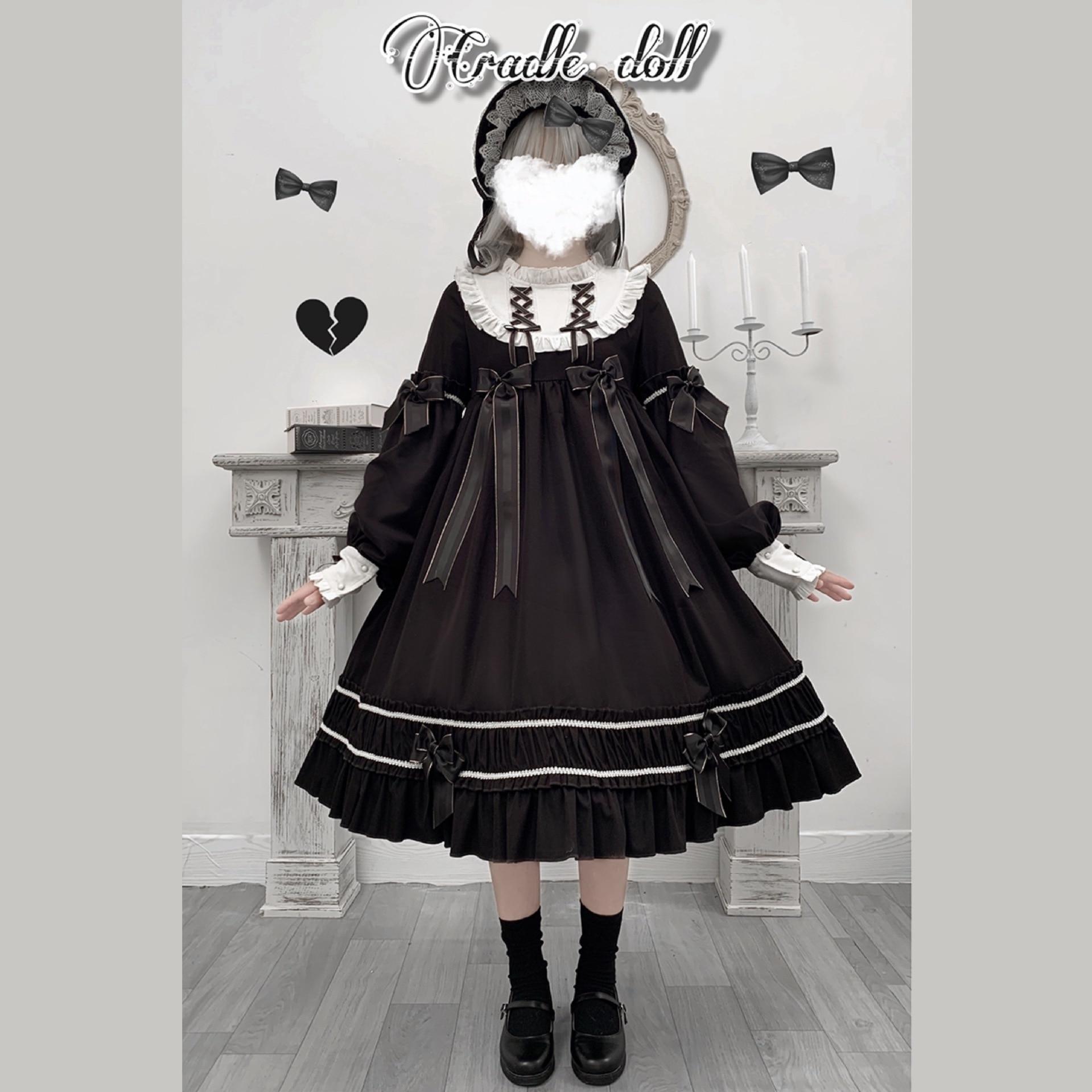 Gothic Lolita Dress Harajuku  Cosplay Costume Female dress Japanese Soft Sister Style Black dress Cute Girl JSK Carousel Dress