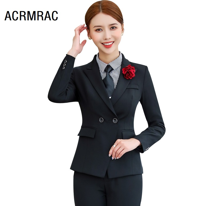 Women Suits Slim Autumn Winter  Blazers Jacket Pants 2-piece Set OL Formal Women Pants Suits Woman Set Suits 1521