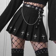Goth Cross czarna spódnica harauju Vintage Punk spódnice kobiety Y2k Mini Lolita plisowana spódnica lato Hip Hop wysokiej talii czarny Grunge