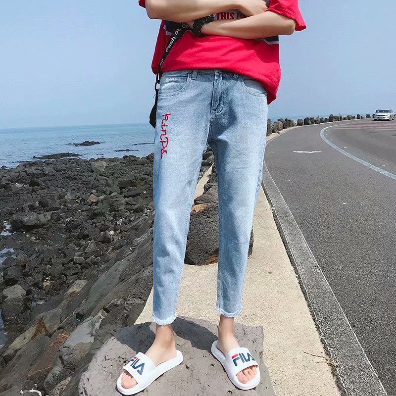 Summer Embroidered Raw-cut Ankle-length Jeans Men's Korean-style Trend Slim Fit BF Style Harajuku Students Skinny CHIC Pants