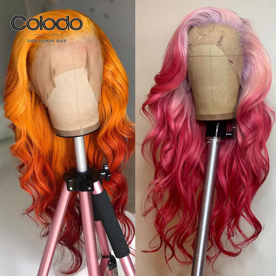 COLODO Brazilian Lace Front Wig With Baby Hair Remy Hair Ombre Pink Transparent Lace Wig Orange Human Hair Wigs For Women