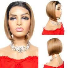 Пикси вырезать Короткий боб парик кружева закрытия 4х4 парики для женщин бразильский прямо Ombre человеческих волос парики Tinashe красоты волос