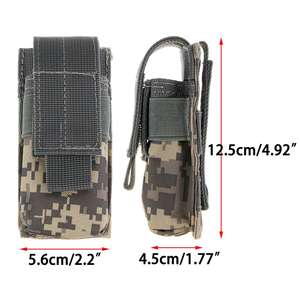 Image 4 - Tactical Molle Flashlight Holster Pouch Single Pistol Ammo Magazine Pouch Torch Case Airsoft EDC Tool Knife Light Holster