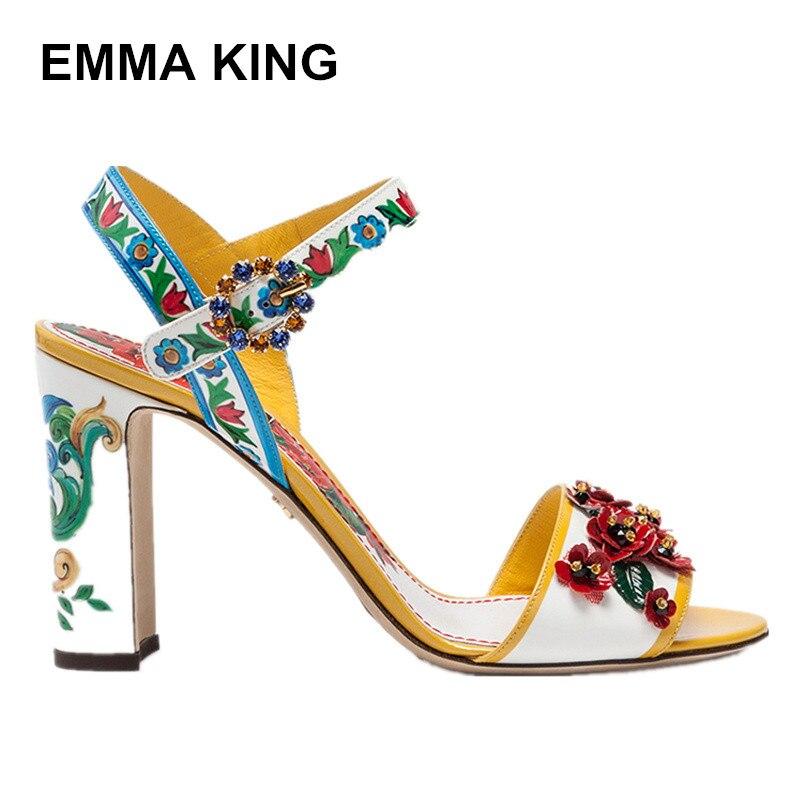 EMMA KING 2019 nouveau sicilien peint en cuir verni sandales à talons hauts belle fleur bride à la cheville sandales femmes sandales chaussures