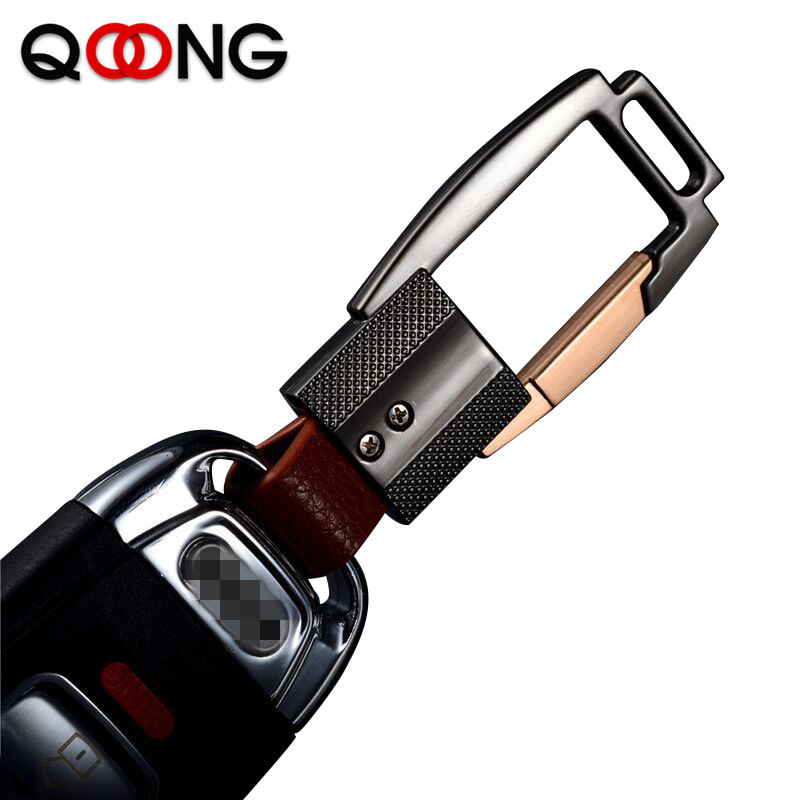 QOONG 2019 Custom Lettering Keychain Leather Keyring Engrave Name Customized Logo Personalized Key Chain For Car Key Ring Y58