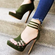 Army Green Platform Sandals Women High Vamp Buckle Cut Out Ladies Sandals High Heel Open Toe Zipper Stiletto Female Shoes&39size army green cut out crop top