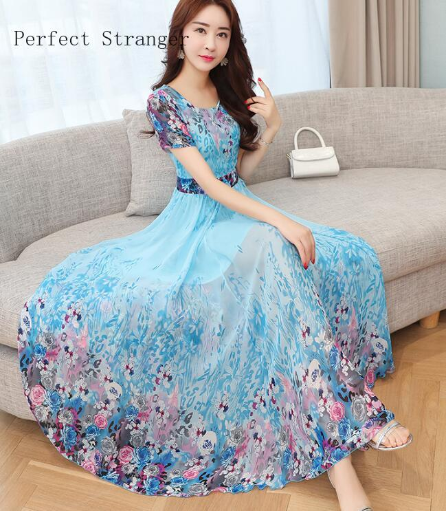 High Quality 2020 Summer New Arrival Round Collar Short Sleeve Flower Printed Chiffon  Woman Long Dress Plus Size S-3XL