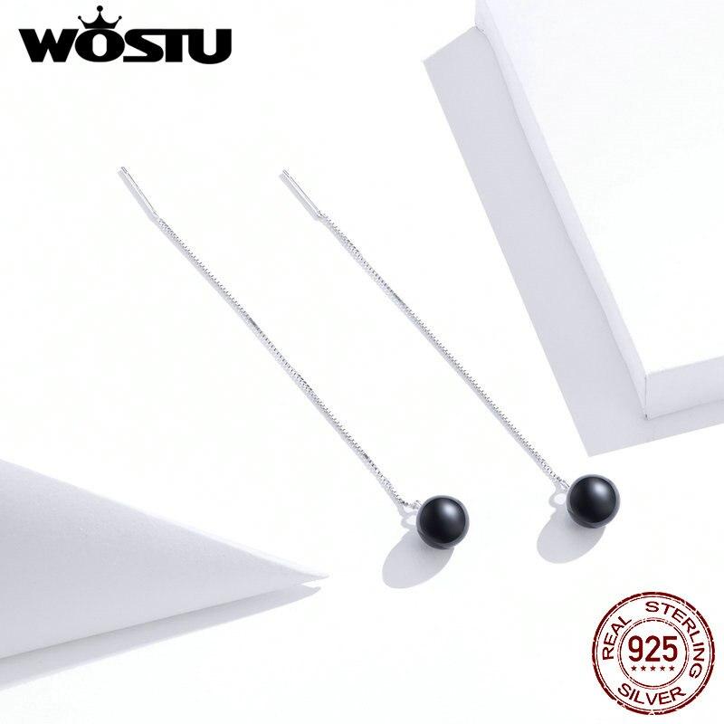 WOSTU Real 925 Sterling Silver Stylish Black Stone Waterdrop Drop Earrings For Women Long Line Earrings Fine Jewelry Gift CQE878
