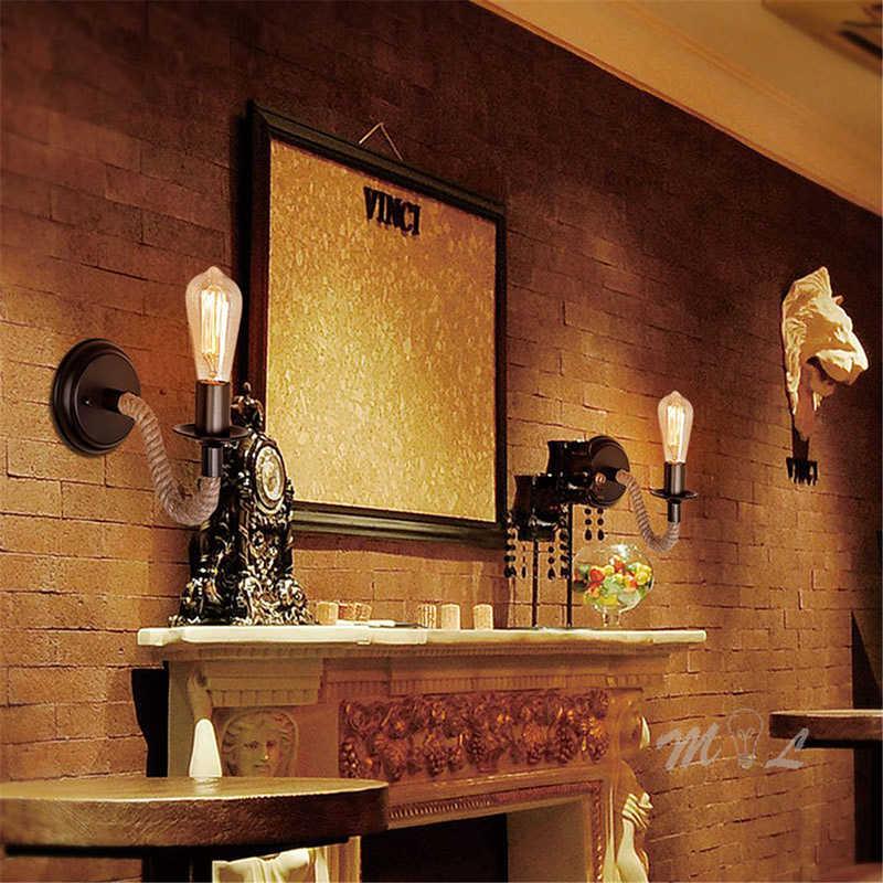 מדינה אמריקנית מנורת קיר חבל רטרו אור פמוט קיר לצד סלון לופט תאורת מדרגות יהירות אור מקורה קיר מנורות