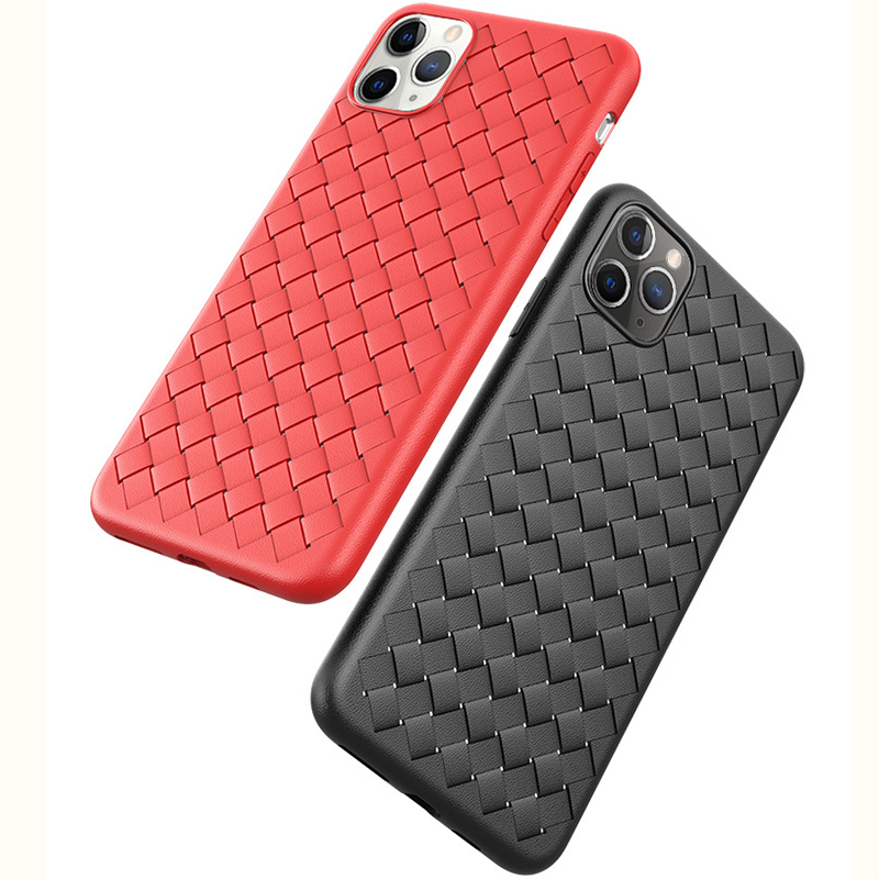 Hac9ef75a21224a9eae6ecbdbc9852f03k NEW Boomboos Classic cross leather pattern weaving breathable soft grid case for iPhone11 for iphone 11 max for apple 11 pro