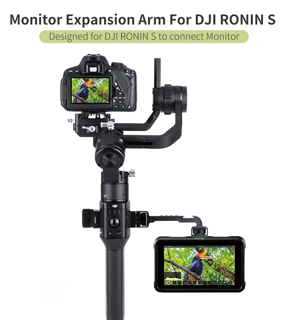 UURig DH11 For DJI Ronin S SC Camera Monitor Extension Arm Microphone Video Light Bracket Gimbal Accessory With Cold Shoe Mount