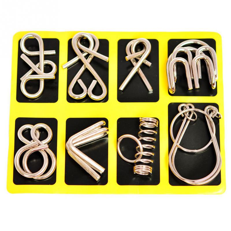 8pcs/set Metal Wire Cultivate Thinking IQ Test Brain Teaser Mind Game Fun Logic Children Educational Adult Challenges Puzzle Toy