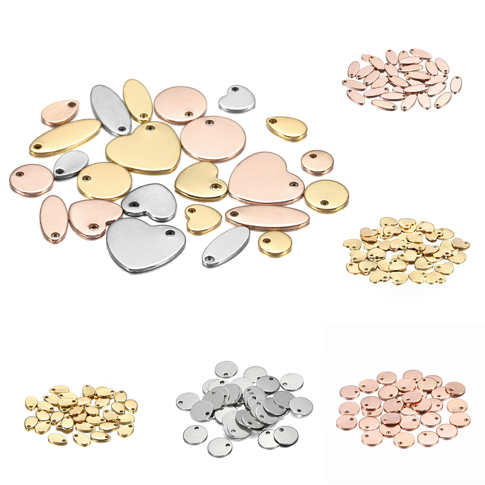 20Pcs Gold/Rose Gold Stainless Steel Charms Dog Tag Heart-Shaped Water Drop Oval Blanks Pendant Charms For DIY Jewelry Making