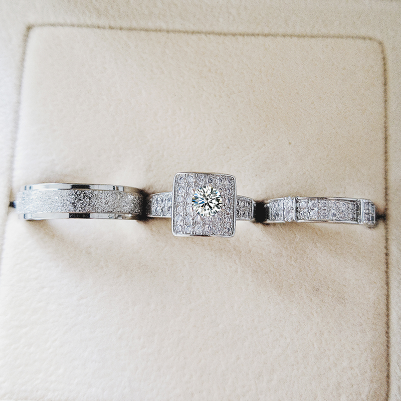 Real 925 Sterling Silver 3pcs In 1 Couple Wedding Ring Set For Bridal Women And Men Finger Gift Africa Fashion Jewelry R5366