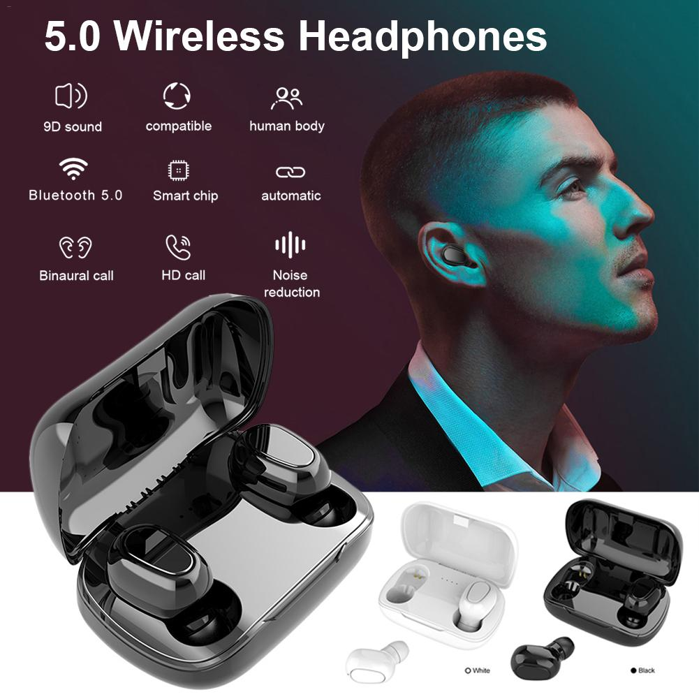 TWS Wireless Earphones Bluetooth 5.0 HD Call Headphones Stereo Headset With Charging Case For Gym Running Sports