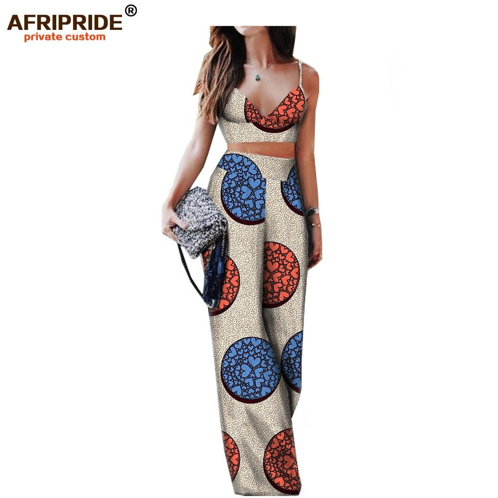 2018 spring summer sexy pants set for women AFRIPRIDE sleeveless halter short top full length wide