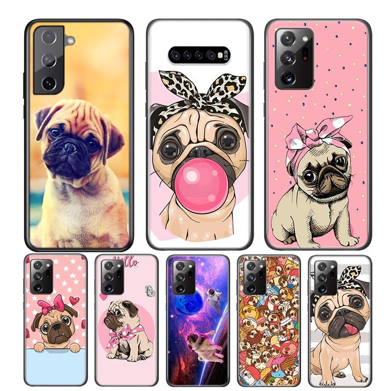 Animal Cute Pug Dog For Samsung Galaxy S21 S20 FE Ultra S10 S10E Lite 5G S9 S8 S7 S6 Edge Plus Phone Case
