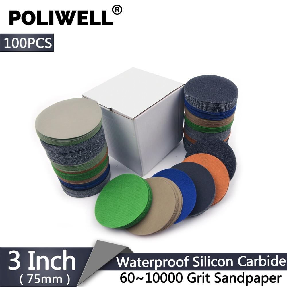 POLIWELL 100PCS 3 Inch 75mm 60-10000 Grit Flocking Sanding Paper Wet Dry Sandpaper Car Headlight Sanding Disc Polishing Paper