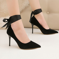 Women Pumps Fashion Top Quality Velvet High Heels Shoes Sexy Ankle Straps Women's Shoes Heels Red Black Office Women Footwear