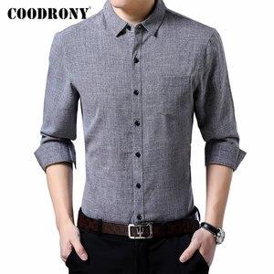 Image 1 - Coodrony 브랜드 남성 셔츠 비즈니스 캐주얼 셔츠 가을 긴 소매 면화 셔츠 남성 의류 camisa masculina 포켓 96093