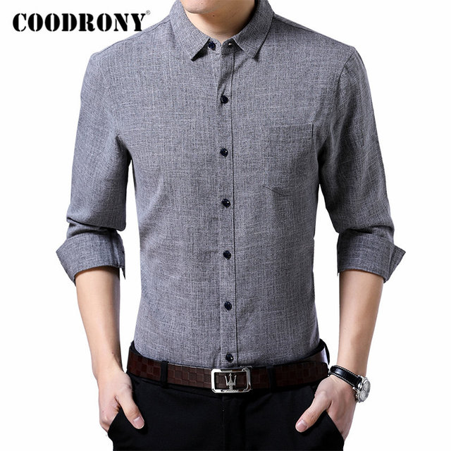 Coodrony 브랜드 남성 셔츠 비즈니스 캐주얼 셔츠 가을 긴 소매 면화 셔츠 남성 의류 camisa masculina 포켓 96093